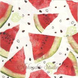 オーサムストア Watermelon スイカ 西瓜 レッド 1枚 バラ売り 33cm ペーパーナプキン デコパージュ用 紙ナプキン  AWESOME STORE