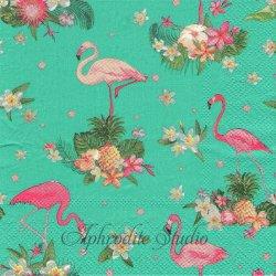 オーサムストア Retoro Flamingo レトロフラミンゴ ターコイズ 1枚 バラ売り 33cm ペーパーナプキン デコパージュ用 紙ナプキン  AWESOME STORE