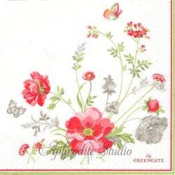 北欧 グリーン・ゲート Meadow お花 1枚 バラ売り 33cm ペーパーナプキン デコパージュ GREENGATE