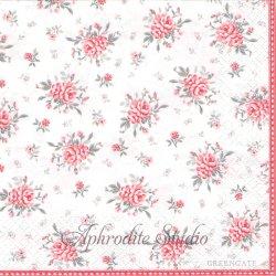 北欧 グリーン・ゲート Flora ホワイト 薔薇 1枚 バラ売り 33cm ペーパーナプキン デコパージュ GREENGATE
