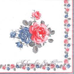 北欧 グリーン・ゲート Heiley 赤と青の薔薇 1枚 バラ売り 33cm ペーパーナプキン デコパージュ GREENGATE