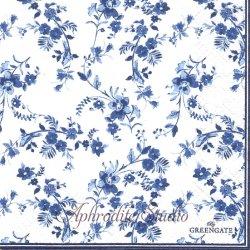 北欧 グリーン・ゲート Vanessa インクブルー 花 1枚 バラ売り 33cm ペーパーナプキン デコパージュ GREENGATE