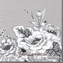 北欧 グリーン・ゲート Felicity グレー 線描きの花 花 1枚 バラ売り 33cm ペーパーナプキン デコパージュ GREENGATE