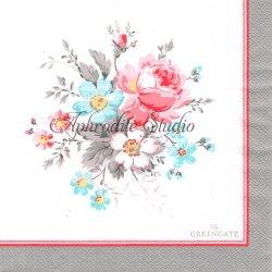 北欧 グリーン・ゲート Marie グレー枠 花 1枚 バラ売り 33cm ペーパーナプキン デコパージュ GREENGATE