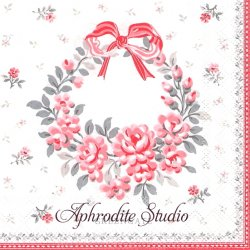 25cm 北欧 グリーン・ゲート Flora 小薔薇のリース クリスマス 1枚 バラ売り ペーパーナプキン デコパージュ GREENGATE