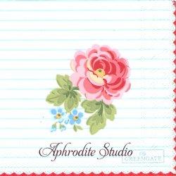 25cm 北欧 グリーン・ゲート Lily 薔薇 ボーダー 1枚 バラ売り ペーパーナプキン デコパージュ GREENGATE