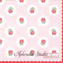 25cm 北欧 グリーン・ゲート Tammie ピンク 薔薇とチェック 1枚 バラ売り ペーパーナプキン デコパージュ GREENGATE
