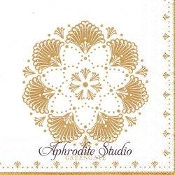 25cm 北欧 グリーン・ゲート Elvina ゴールド 花紋様 1枚 バラ売り ペーパーナプキン デコパージュ GREENGATE