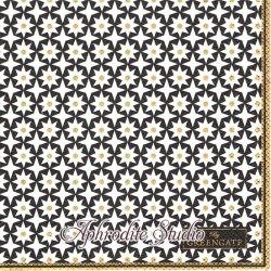 25cm 北欧 グリーン・ゲート Lara ブラックゴールド 星の模様 1枚 バラ売り ペーパーナプキン デコパージュ GREENGATE
