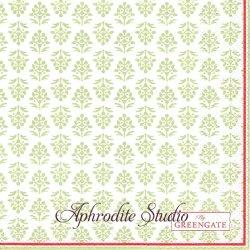 25cm 北欧 グリーン・ゲート Ashley ライトグリーン 木花の模様 1枚 バラ売り ペーパーナプキン デコパージュ GREENGATE