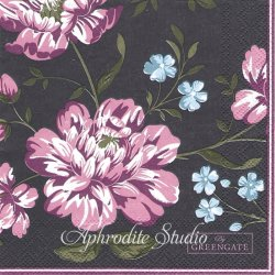 25cm 北欧 グリーン・ゲート Penelope パープルブラック 花 1枚 バラ売り ペーパーナプキン デコパージュ GREENGATE