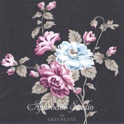 25cm 北欧 グリーン・ゲート Maude パープルブラック 薔薇とライラック 1枚 バラ売り ペーパーナプキン デコパージュ GREENGATE