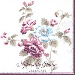 25cm 北欧 グリーン・ゲート Maude ホワイトパープル 薔薇とライラック 1枚 バラ売り ペーパーナプキン デコパージュ GREENGATE