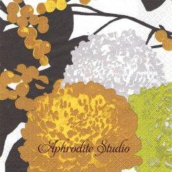 北欧 ペンティック KRYSANTEEMI イエロー 黄色い実と菊の花 1枚 バラ売り 33cm ペーパーナプキン PENTIK