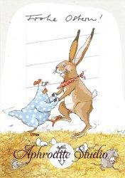 クリマ&イザ 絵変わりグリーティングカード 『兎と鶏がダンス』Krima & Isa ギフトカード