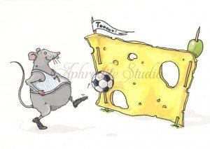 クリマ&イザ ポストカード 『チーズサッカーゴール』Krima & Isa 葉書 ハガキ カード