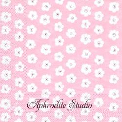 クリマ&イザ まあるいかわいい小花 ピンク 1枚 バラ売り 33cm ペーパーナプキン デコパージュ用 紙ナプキン Krima & Isa
