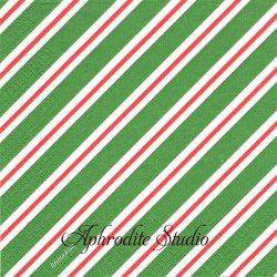 クリマ&イザ 斜めシャツストライプ グリーン クリスマス 1枚 バラ売り 33cm ペーパーナプキン デコパージュ用 紙ナプキン Krima & Isa