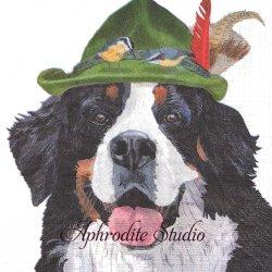 Noah von Trapp 山高帽の犬と小鳥 Two Can Art 1枚 バラ売り 33cm ペーパーナプキン デコパージュ用 紙ナプキン ppd