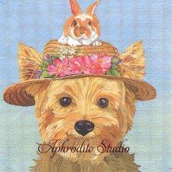 Elia 麦わら帽の犬と兎 うさぎ Two Can Art 1枚 バラ売り 33cm ペーパーナプキン デコパージュ用 紙ナプキン ppd