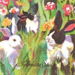 Blossom Bunnies 花畑と兎 うさぎ Kay Smith 1枚 バラ売り 33cm ペーパーナプキン デコパージュ用 紙ナプキン ppd