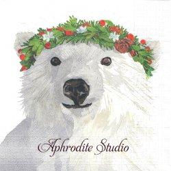 Glacier Bear 花冠のシロクマ Two Can Art 1枚 バラ売り 33cm ペーパーナプキン デコパージュ用 紙ナプキン ppd