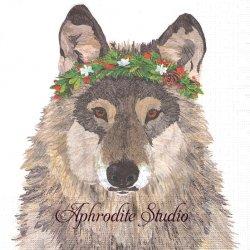 Glacier Wolf 花冠のオオカミ 狼 Two Can Art 1枚 バラ売り 33cm ペーパーナプキン デコパージュ用 紙ナプキン ppd