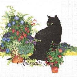 黒猫シリーズ  Black Cat Flower Pot 鉢植えの庭 Sue Boettcher 1枚 バラ売り 33cm ペーパーナプキン デコパージュ用 紙ナプキン ppd