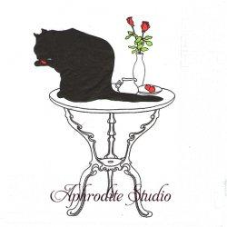 黒猫シリーズ Black Cat Bath テーブルの上 Sue Boettcher 1枚 バラ売り 33cm ペーパーナプキン デコパージュ用 紙ナプキン ppd