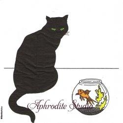 黒猫シリーズ Black Cat Goldfish 金魚鉢 Sue Boettcher 1枚 バラ売り 33cm ペーパーナプキン デコパージュ用 紙ナプキン ppd