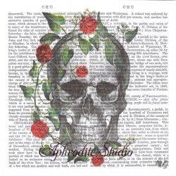 新聞シリーズ Skull & Roses ガイコツと薔薇 ハロウィン Fab Funky 1枚 バラ売り 33cm ペーパーナプキン デコパージュ用 紙ナプキン ppd