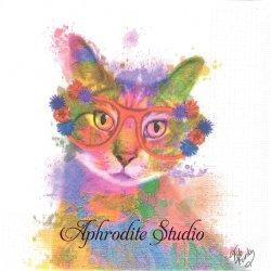Camilla 水彩 眼鏡猫 Fab Funky 1枚 バラ売り 33cm ペーパーナプキン デコパージュ用 紙ナプキン ppd