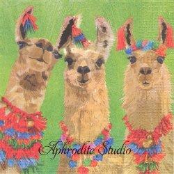 Liama Amigos 3頭のリャマ Two Can Art 1枚 バラ売り 33cm ペーパーナプキン デコパージュ用 紙ナプキン ppd