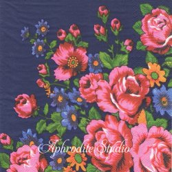 日本初入荷 北欧 スカンセン ROSOR ネイビー ピンクの薔薇 1枚 バラ売り 33cm ペーパーナプキン デコパージュ用 紙ナプキン SKANSEN