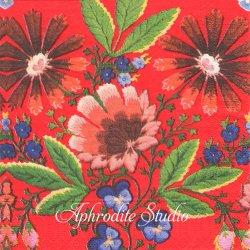 日本初入荷 北欧 スカンセン DALAFLODA レッド 花の刺繍 1枚 バラ売り 33cm ペーパーナプキン デコパージュ用 紙ナプキン SKANSEN