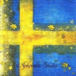 北欧 かわいい黄色の小花とスウェーデンの国旗 1枚 バラ売り 33cm ペーパーナプキン デコパージュ用 紙ナプキン