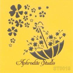 【花いっぱいの傘】 ステンシルシート♪ 16cm角 テンプレート エンボス ITD Collection