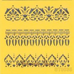 【ボーダー飾り】 ステンシルシート♪ 16cm角 テンプレート エンボス ITD Collection