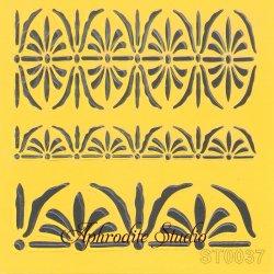 【メダリオンのボーダー飾り】 ステンシルシート♪ 16cm角 テンプレート エンボス ITD Collection