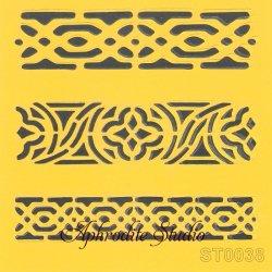 【ケルティックのボーダー飾り】 ステンシルシート♪ 16cm角 テンプレート エンボス ITD Collection