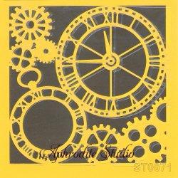 【歯車】 ステンシルシート♪ 16cm角 テンプレート エンボス ITD Collection