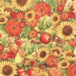 FLOWERS AND FRUITS 花と果物 秋いろ 1枚 バラ売り 33cm ペーパーナプキン Ihr