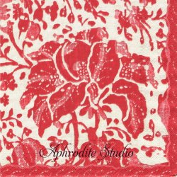 PLANTATION PRINT VINTAGE レッド 農園の染織物 Williamsburg 1枚 ばら売り 33cm ペーパーナプキン デコパージュ用 Caspari カスパリ