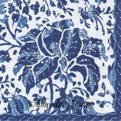 PLANTATION PRINT VINTAGE インディゴブルー 農園の染織物 Williamsburg 1枚 ばら売り 33cm ペーパーナプキン デコパージュ用 Caspari カスパリ