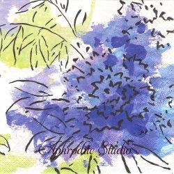 カスパリ ABSTRACT FLORAL 青や赤の大胆な花柄 Isabelle de Borchgrave 1枚 ばら売り 33cm ペーパーナプキン デコパージュ用 Caspari