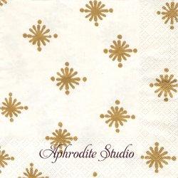 カスパリ STARRY アイボリーxゴールド きらきら星 1枚 バラ売り 33cm ペーパーナプキン デコパージュ用 Caspari