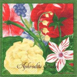 廃盤 ジアン VOLUPTE 大柄な花 1枚 バラ売り 33cm ペーパーナプキン 紙ナプキン デコパージュ Gien FRANCE