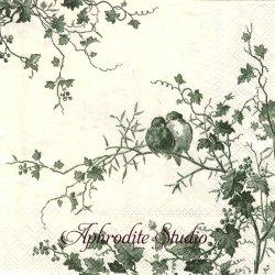 廃盤 ジアン LES OISEAUX モスグリーン 葡萄と小鳥 1枚 バラ売り 33cm ペーパーナプキン 紙ナプキン デコパージュ Gien FRANCE