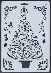 【クリスマス ツリー もみの木】 ステンシルシート♪ 17.7 x26 cm テンプレート エンボス