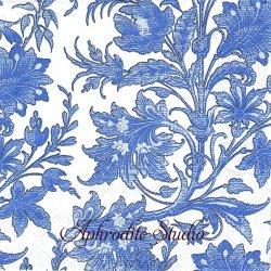 25cm 廃盤 CHINA BULE チャイナブルー 花 1枚 バラ売り ペーパーナプキン デコパージュ用 MICHEL DESIGN WORKS